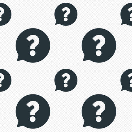 Question mark sign icon. Help speech bubble symbol. FAQ sign. Seamless grid lines texture. Cells repeating pattern. White texture background. Stock Photo
