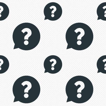 Vraagteken teken pictogram. Hulp tekstballon symbool. FAQ teken. Naadloze rasterlijnen textuur. Cellen herhalend patroon. Witte textuur achtergrond.