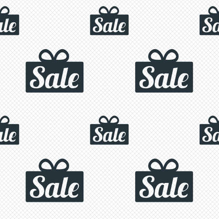 Sale gift box sign icon. Special offer symbol. Seamless grid lines texture. Cells repeating pattern. White texture background. photo