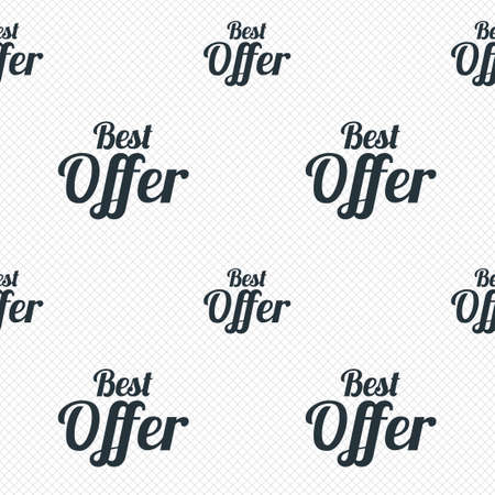 Best offer sign icon. Sale symbol. Seamless grid lines texture. Cells repeating pattern. White texture background. photo