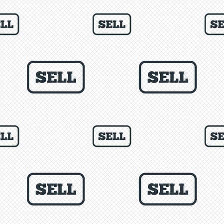 Sell sign icon. Contributor earnings button. Seamless grid lines texture. Cells repeating pattern. White texture background.