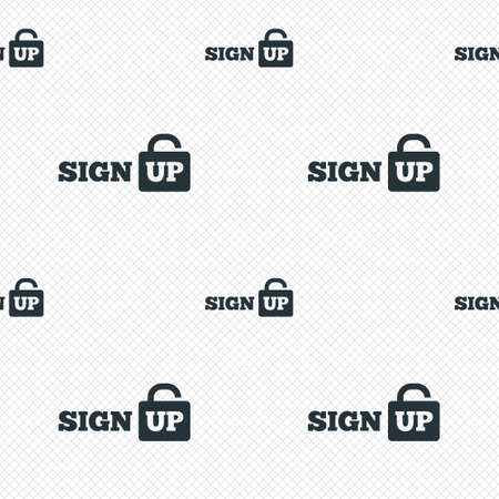 Sign up sign icon. Registration symbol. Lock icon. Seamless grid lines texture. Cells repeating pattern. White texture background. photo