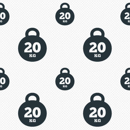 kilogram: Weight sign icon. 20 kilogram (kg). Sport symbol. Fitness. Seamless grid lines texture. Cells repeating pattern. White texture background. Stock Photo