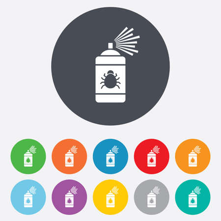 fumigation: Bug disinfection sign icon. Fumigation symbol. Bug sprayer. Round colourful 11 buttons.