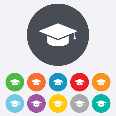 Graduation cap sign icon. Higher education symbol. Round colourful 11 buttons.