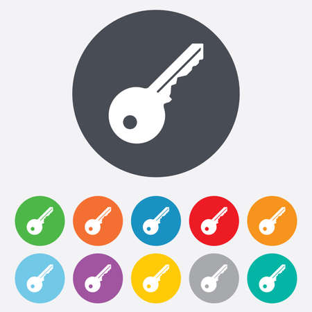 key: Key sign icon. Unlock tool symbol. Round colourful 11 buttons. Stock Photo