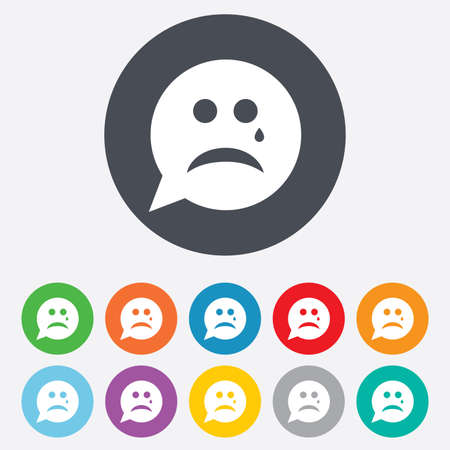 art icons: Sad face with tear sign icon. Crying chat symbol. Speech bubble. Round colourful 11 buttons. Stock Photo