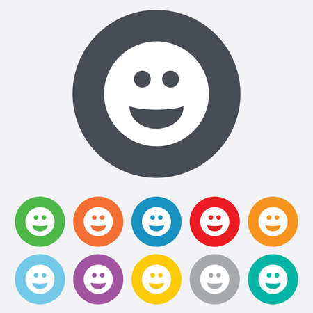 Smile face sign icon. Happy smiley chat symbol. Round colourful 11 buttons.