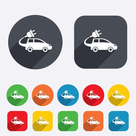 electric vehicle: Auto elettrica icona segno. Simbolo Hatchback. Trasporto del veicolo elettrico. Cerchi e quadrati arrotondati 12 pulsanti. Vettore