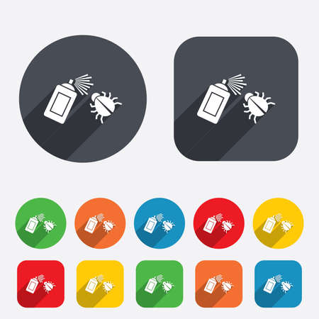 bedbug: Bug disinfection sign icon. Fumigation symbol. Bug sprayer. Circles and rounded squares 12 buttons. Vector Illustration