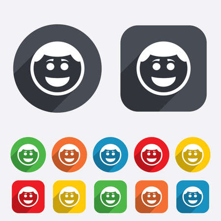Smile face sign icon. Happy smiley with hairstyle chat symbol. Circles and rounded squares 12 buttons. Vector