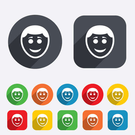 Smile face sign icon. Happy smiley with hairstyle chat symbol. Circles and rounded squares 12 buttons. Vector Vector