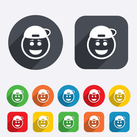 baseball cartoon: Smile rapper face sign icon. Happy smiley with hairstyle chat symbol. Circles and rounded squares 12 buttons. Vector