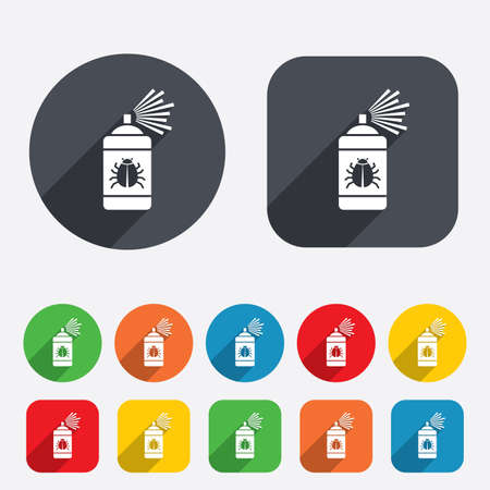 fumigation: Bug disinfection sign icon. Fumigation symbol. Bug sprayer. Circles and rounded squares 12 buttons. Vector Illustration