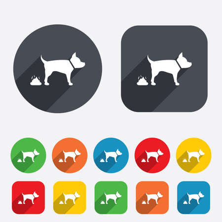 feces: Feces sign icon. Clean up after pets symbol. Put it in the bag. Circles and rounded squares 12 buttons. Vector