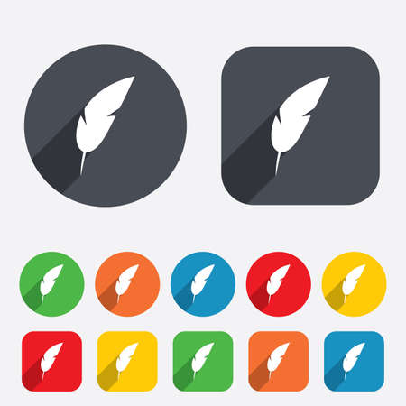 mark pen: Feather sign icon. Retro pen symbol. Light weight symbol. Circles and rounded squares 12 buttons. Vector Illustration