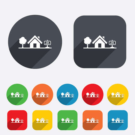 Home sign icon. House for sale. Broker symbol. Circles and rounded squares 12 buttons. Vector Vector
