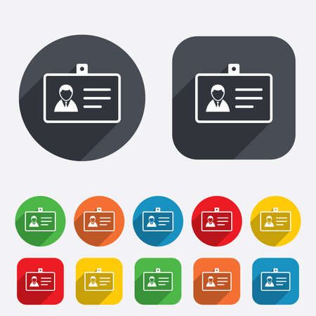 ID card sign icon. Identity card badge symbol. Circles and rounded squares 12 buttons. Vector Illustration