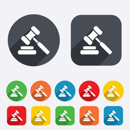 judge hammer: Auction hammer icon. Law judge gavel symbol. Circles and rounded squares 12 buttons. Vector