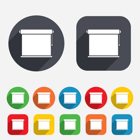 roll curtains: Louvers rolls sign icon. Window blinds or jalousie symbol. Circles and rounded squares 12 buttons. Vector Illustration