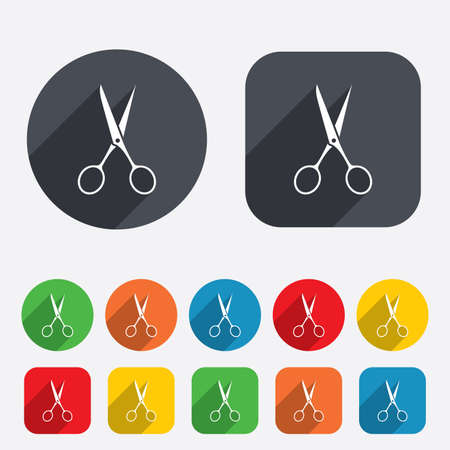 scissors icon: Scissors hairdresser sign icon. Tailor symbol. Circles and rounded squares 12 buttons. Vector Illustration