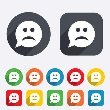 gloom: Sad face sign icon. Sadness depression chat symbol. Speech bubble. Circles and rounded squares 12 buttons. Vector