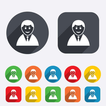 User sign icon. Person symbol. Human in suit avatar. Circles and rounded squares 12 buttons. Vector Vector