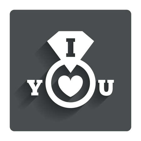 i love you sign: I Love you sign icon. Valentines day symbol. Gray flat button with shadow. Modern UI website navigation. Vector