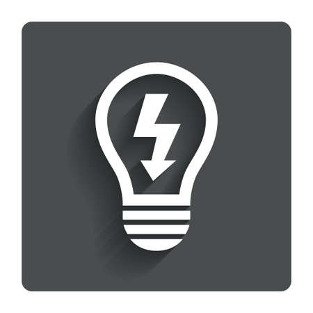 gray bulb: Light lamp sign icon. Bulb with lightning symbol. Idea symbol. Gray flat button with shadow. Modern UI website navigation. Vector