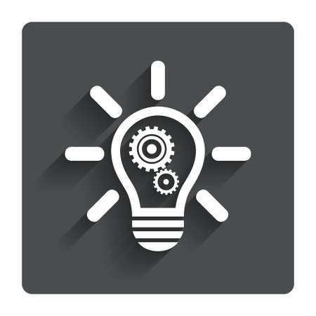 gray bulb: Light lamp sign icon. Bulb with gears and cogs symbol. Idea symbol. Gray flat button with shadow. Modern UI website navigation. Vector