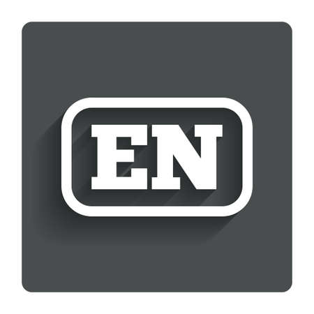 en: English language sign icon. EN translation symbol with frame. Gray flat button with shadow. Modern UI website navigation. Vector