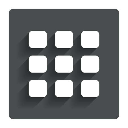 thumbnails: Thumbnails grid sign icon. Gallery view option symbol. Gray flat button with shadow. Modern UI website navigation. Vector
