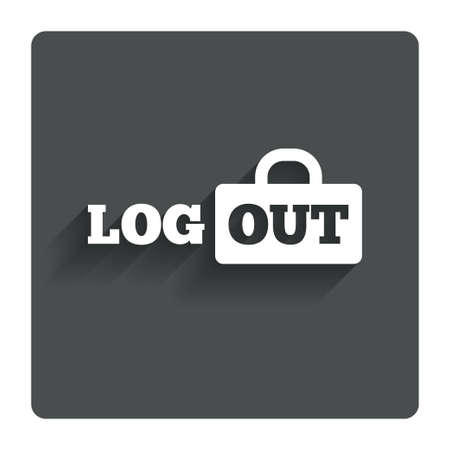 sign out: Logout sign icon. Sign out symbol. Lock icon. Gray flat button with shadow. Modern UI website navigation. Vector