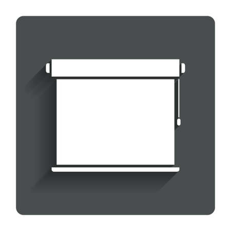roll curtains: Louvers rolls sign icon. Window blinds or jalousie symbol. Gray flat button with shadow. Modern UI website navigation. Vector
