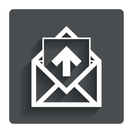 outgoing: Mail icon. Envelope symbol. Outgoing message sign. Mail navigation button. Gray flat button with shadow. Modern UI website navigation. Vector