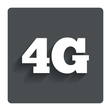 4g: 4G sign icon. Mobile telecommunications technology symbol. Gray flat button with shadow. Modern UI website navigation. Vector Illustration
