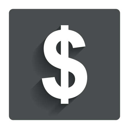 Dollars sign icon. USD currency symbol. Money label. Gray flat button with shadow. Modern UI website navigation. Vector Illustration
