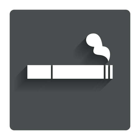 Smoking sign icon. Cigarette symbol. Gray flat button with shadow. Modern UI website navigation. Vector Illustration