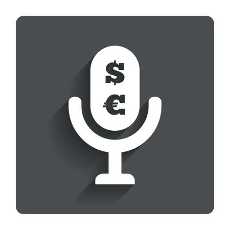 Microphone icon. Speaker symbol. Paid music sign. Gray flat button with shadow. Modern UI website navigation. Vector Illustration
