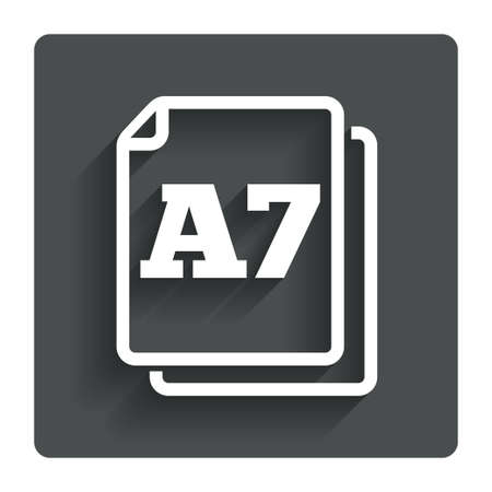 a7: Paper size A7 standard icon. File document symbol. Gray flat button with shadow. Modern UI website navigation. Vector