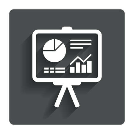 ppt: Presentation billboard sign icon. Scheme and Diagram symbol. Gray flat button with shadow. Modern UI website navigation. Vector