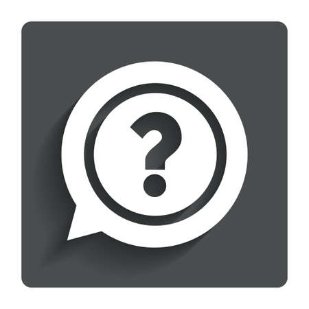 Question mark sign icon. Help speech bubble symbol. FAQ sign. Gray flat button with shadow. Modern UI website navigation. Vector Vector