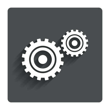 Cog settings sign icon. Cogwheel gear mechanism symbol. Gray flat button with shadow. Modern UI website navigation. Vector Vector