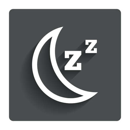 standby: Sleep sign icon. Moon with zzz button. Standby. Gray flat button with shadow. Modern UI website navigation. Vector