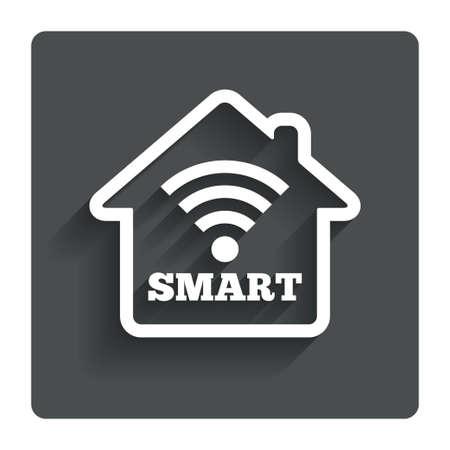 スマート ホーム記号アイコン。スマートハウス ボタン。リモート コントロール。影付きの灰色フラット ボタン。モダンな UI のウェブサイトのナビ  イラスト・ベクター素材