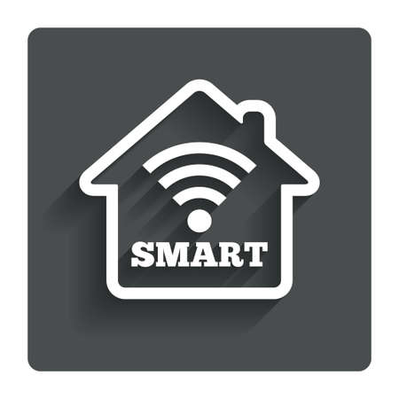 Smart home sign icon. Smart house button. Remote control. Gray flat button with shadow. Modern UI website navigation. Vector Vettoriali