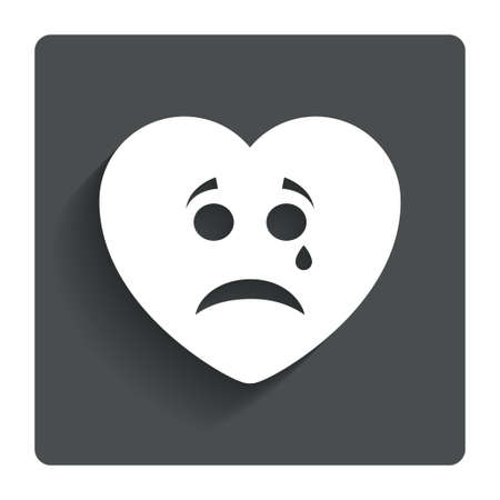 Sad heart face with tear sign icon. Crying chat symbol. Gray flat button with shadow. Modern UI website navigation. Vector Vector