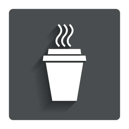 cup coffee: Take a Coffee sign icon. Hot Coffee cup. Gray flat button with shadow. Modern UI website navigation. Vector