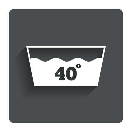 washable: Icono Wash. Lavar a m�quina a 40 grados s�mbolo. Bot�n plano gris con la sombra. Modern sitio web de interfaz de usuario de navegaci�n. Vector