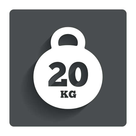 kilograms: Weight sign icon. 20 kilogram (kg). Sport symbol. Fitness. Gray flat button with shadow. Modern UI website navigation. Vector